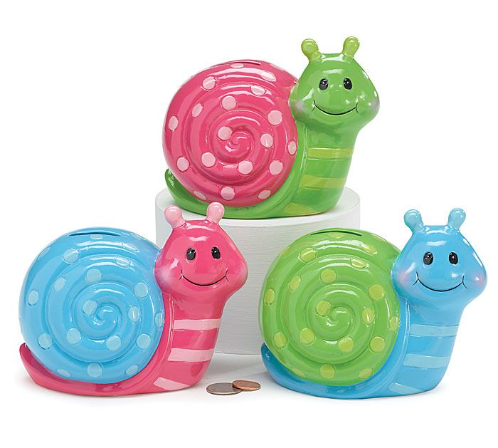 Save those pennies with our colorful snail banks! #burtonandburton