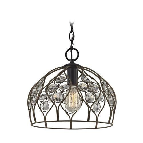 Elk Lighting Crystal Web Bronze Gold / Black Pendant Light with Bowl / Dome Shade | 81106/1-LA | Destination Lighting