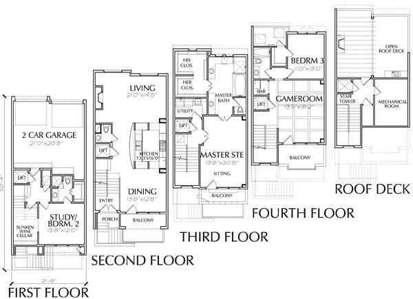 51 best images about p l a n s on pinterest for Luxury townhome floor plans