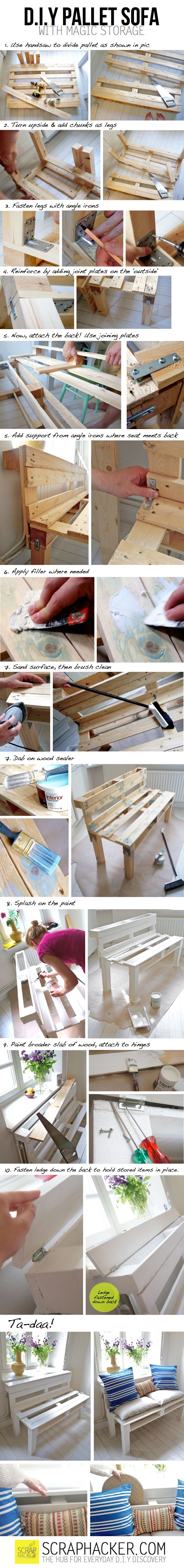 Outdoor Bench  Easy & Cheap Pallet outdoor bench-sofa.  A DIY project at scraphacker.com  Here they give step by step how2s.  All I would [will] add to theirs is: add 2 layers of an Outdoor Sealer and cushions made for outdoor use.