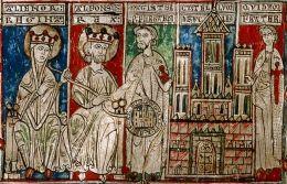 Eleonora van Castilië links met haar man Alfonso van Castilië