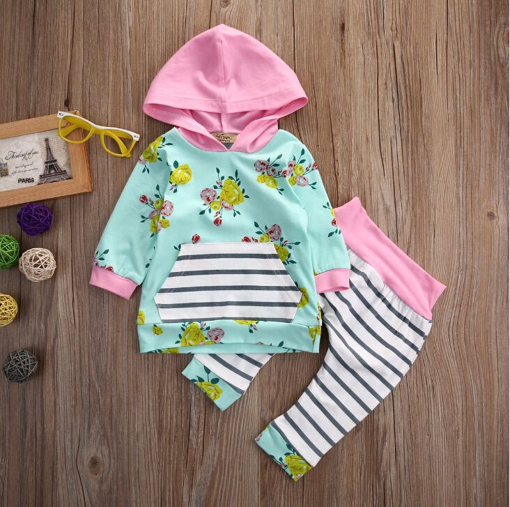Flower Cute Baby Infant Girls Clothes Tops T Shirts Long Sleeve Flower Pants Casual Outfits Hooded Baby Girl Clothing New-in Clothing Sets from Mother & Kids on Aliexpress.com | Alibaba Group
