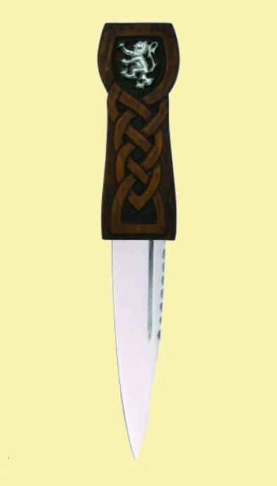 For Everything Genealogy - Rampant Lion Disc Detail Knotwork Handle Leather Sheath Sgian Dubh, $90.00 (https://www.foreverythinggenealogy.com.au/rampant-lion-disc-detail-knotwork-handle-leather-sheath-sgian-dubh/)