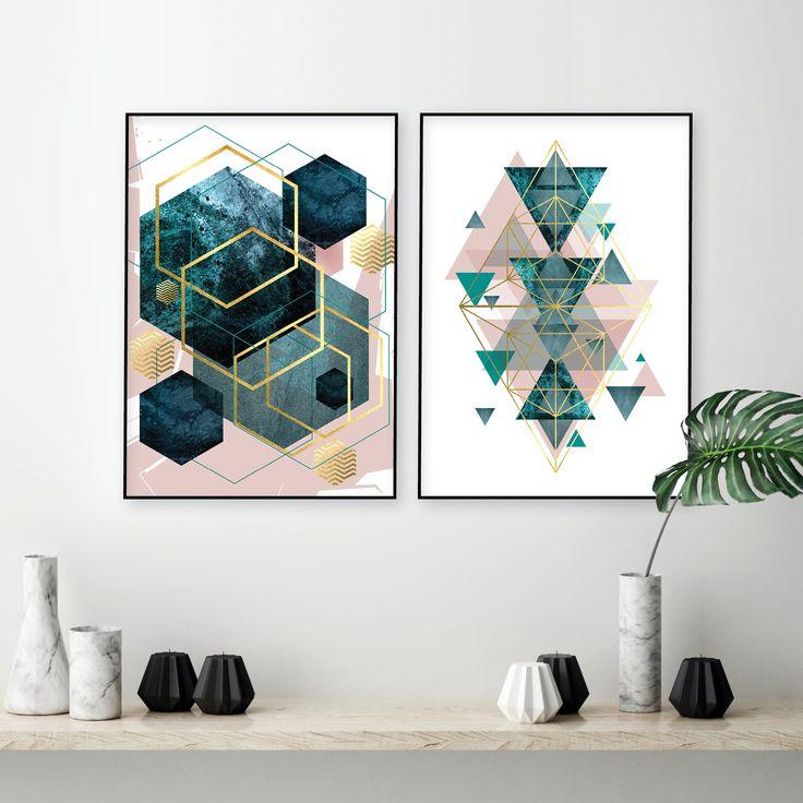 Set of 2 printable blush pink teal gold geometric prints ...