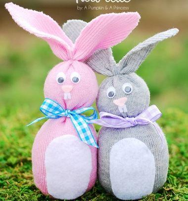 No-sew sock bunny - easter craft for kids / Zokni nyuszik (varrás nélkül ) / Mindy