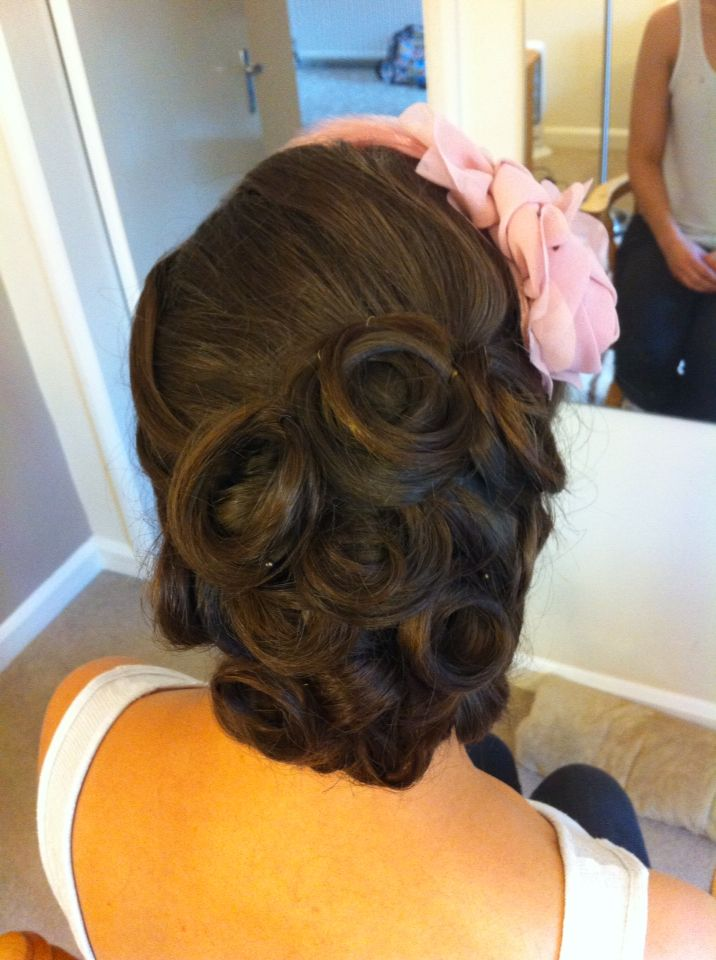 vintage bridal hair by rachael white freelance stylist vintage pin curls side updo - Freelance Stylist