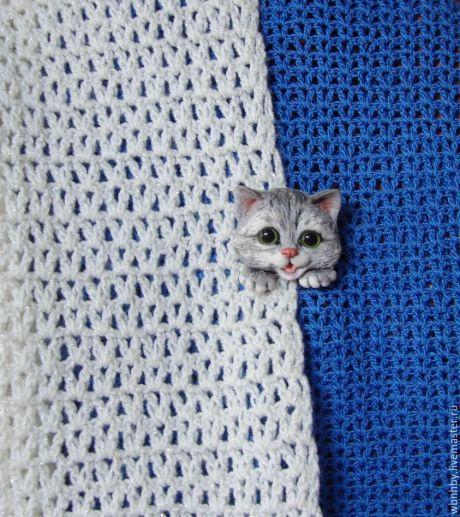 Купить Брошь -Котенок - серый, котик, котенок, кот в подарок, котята, брошь ручной работы