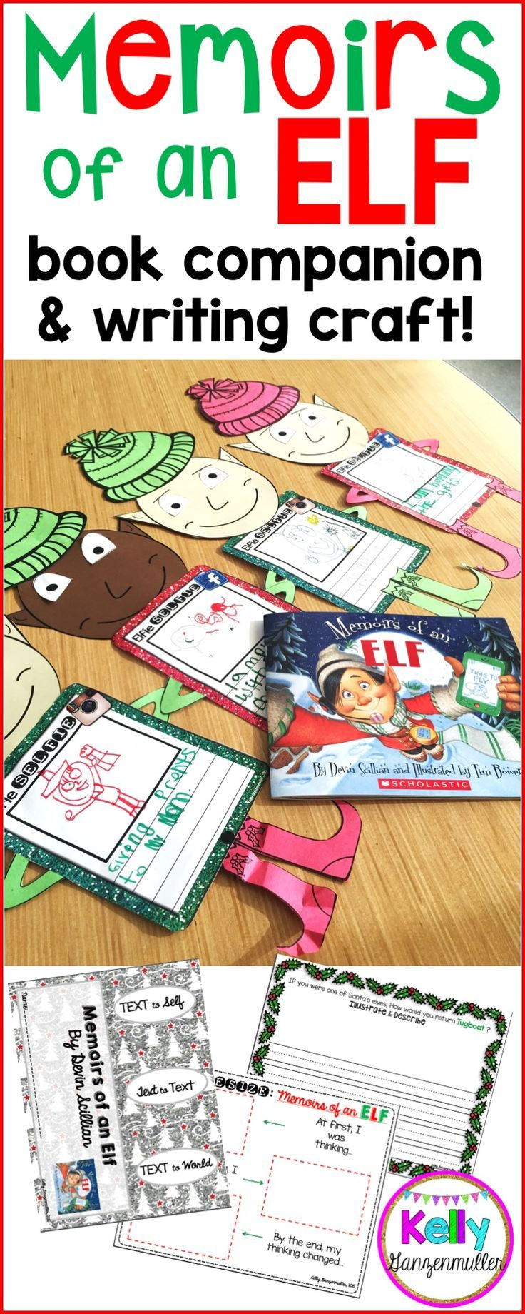 This December, use the book Memoirs of an Elf to bring holiday spirit into your classroom! This adorable instagram or facebook elf craft will work as the perfect christmas bulletin board display too! Reading comprehension skills in this book companion include sequencing, synthesizing, text connections and more! Perfect for first grade, second grade and third grade!