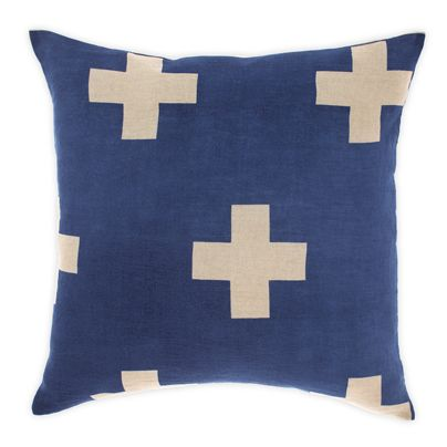 Crosses cushion in Marine 50cm
