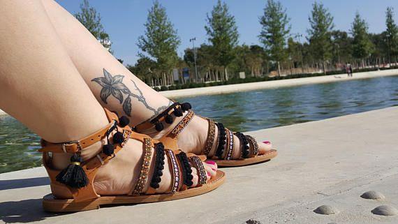 Boho Gladiator Sandals Greek Sandals Leather Sandals