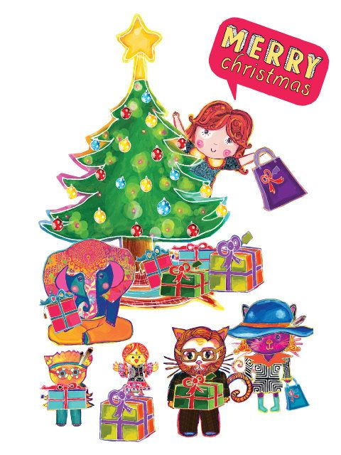 Merry Christmas Postcard / Puliki & Friends by PulikiAndFriends, $2.50