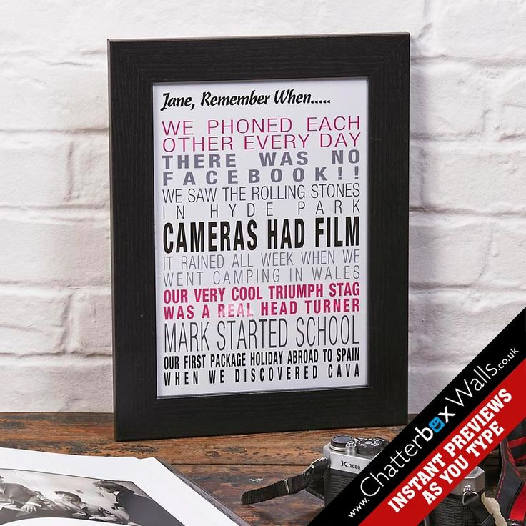 Bespoke Remember When Typographic art print