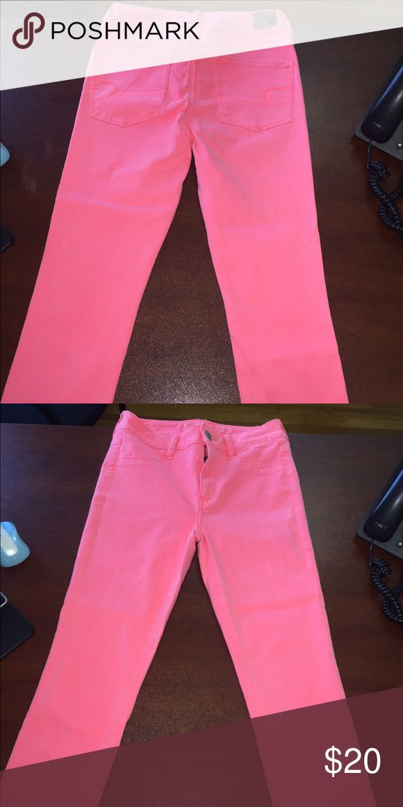 Neon pink high waisted cropped jeggings Soft and comfortable high rise jeggings American Eagle Outfitters Pants Ankle & Cropped