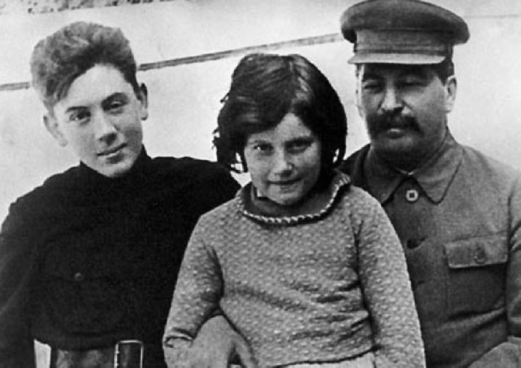 Here is Stalin with two of his children, Vassili and Svetlana about 1935 a few years after their mother's death in the midst of the Great Terror.