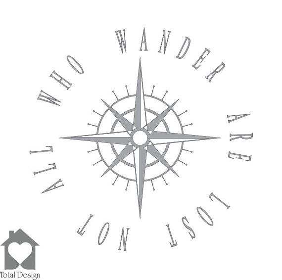 Not All who Wander Compass - Vinyl Wall Decor Decal Home Art Decoration DIY sticker väggord vägtext väggdekor Sisustustarra 2025