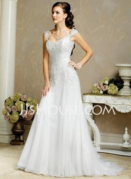 A-Line/Princess V-neck Chapel Train Chiffon Satin Lace Wedding Dresses With Lace Beadwork (002000159) - JJsHouse.com