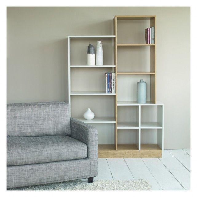MILES Oak and linen white large tall shelving unit | Buy now at Habitat UK