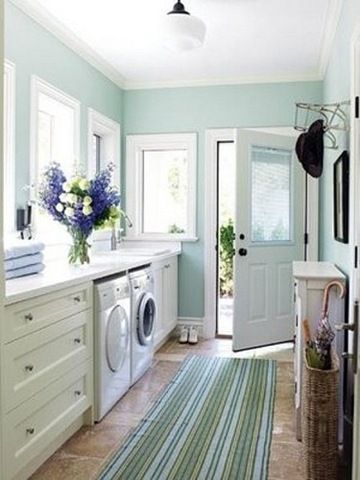 This beautiful light blue/green color is a great way to open up a small space.BM-Palladian Blue-using this for small half bathroom!