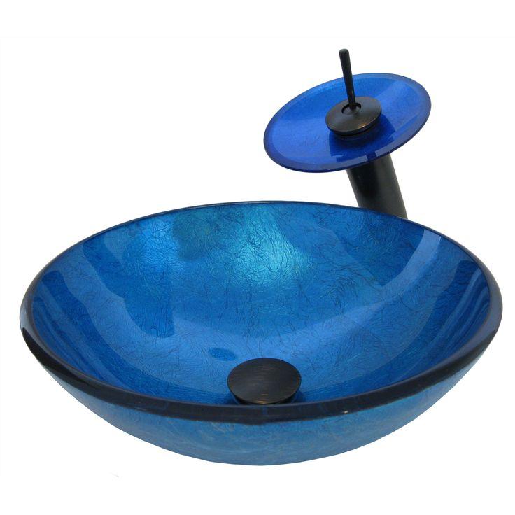 Novatto Verdazzurro Glass Vessel Bathroom Sink Set, Oil Rubbed Bronze (Blue Foil, Oil Rubbed Bronze Faucet, Drain)