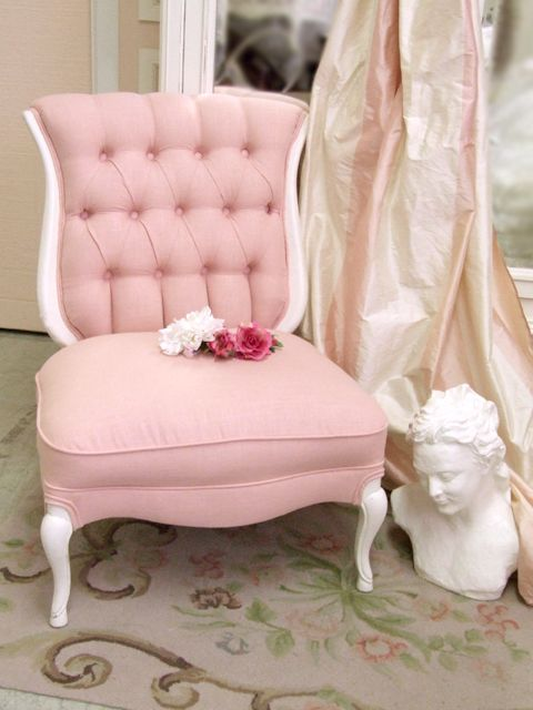 Pink, White, Chair, Drapes, Shabby Chic, French: White Chairs, Color, Slippers Chairs, Pretty Pink, Shabby Chic, Pale Pink, Pink Chairs, French Chairs, Furniture