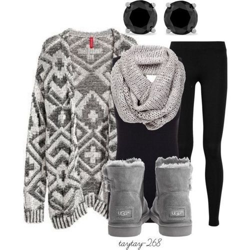 Winter Outfit/ I would like it better with black or brown leather boots, not the uggs. #escherpe