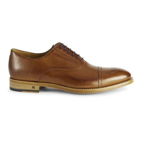Paul Smith Shoes Men's Berty Leather Shoes - Tan ($210) found on Polyvore featuring mens, men's shoes, men, oxfords, shoes and tan