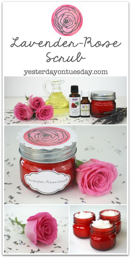 Lavender-Rose Scrub and printable labels, great gift for Mother's Day, Valentine's Day or any time.