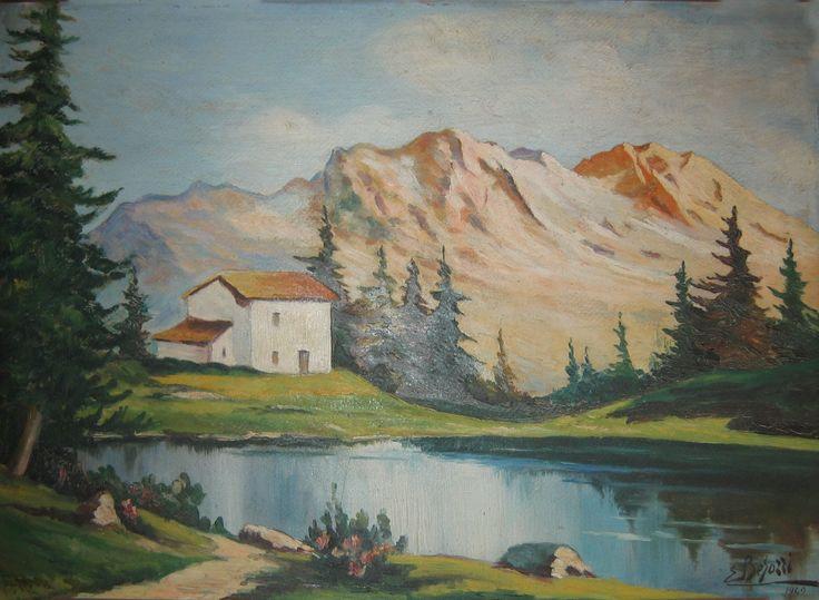 E. Besozzi pitt. 1942 Paesaggio di montagna olio su cartone cm. 47,5x66 arc. 1396