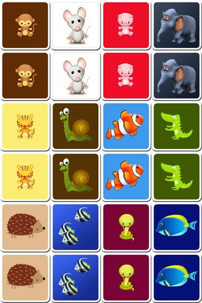 cartes à imprimer animaux   Jeu de memory, Jeux de mémoire pour enfants et Jeux a imprimer