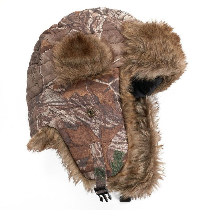 Women's Camouflage Trapper Hat Faux-fur lined ear flaps Hot Shot Size S/M #HotShot #CamouflageTrapperHat #Everyday