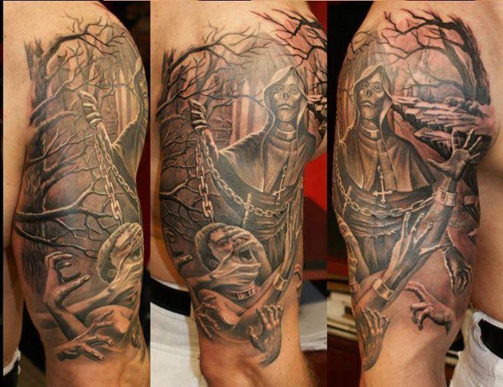 Half Sleeve 3D Horror Tattoo On For Men