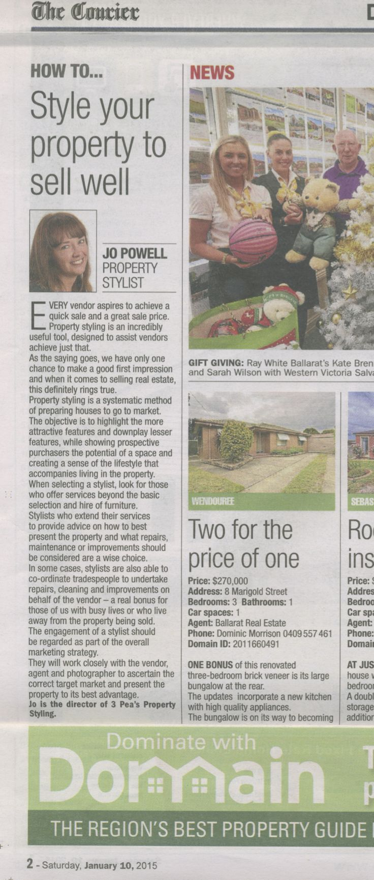 How to...Style your property to sell well. Domain.com.au, The Courier, 10 January 2015.