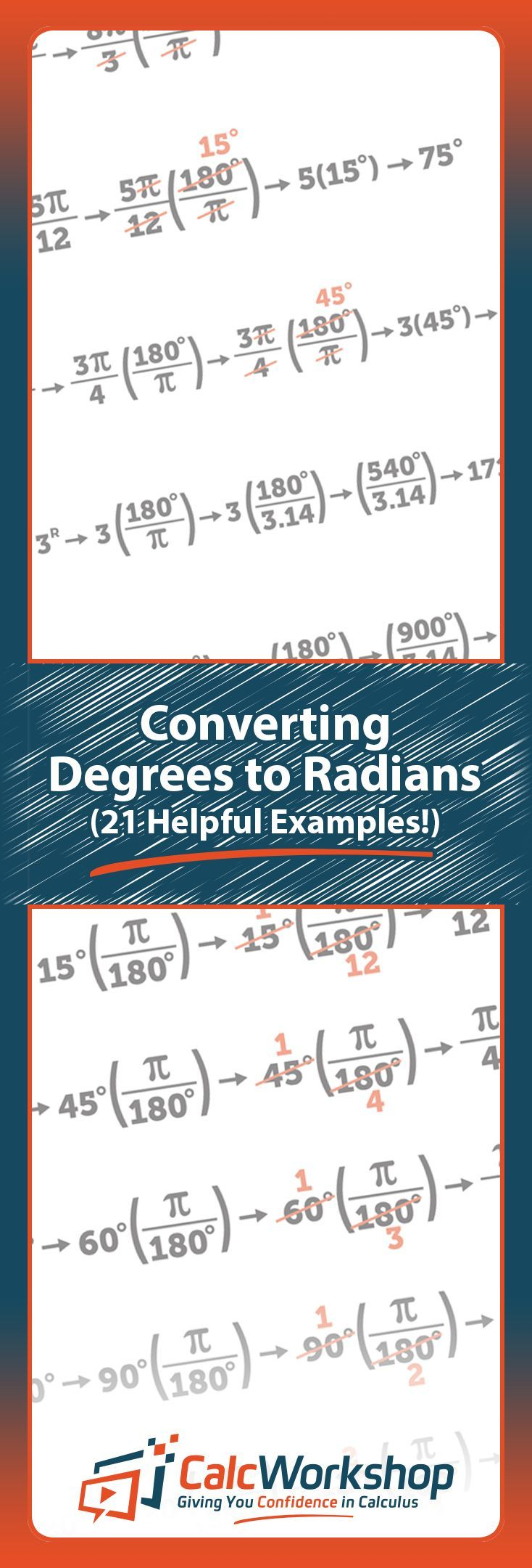 Converting Degrees to Radians with 21 Helpful Examples.  Great practice for students and teachers in Precalculus, Algebra, Trig, or Math Analysis.  Check it out today!