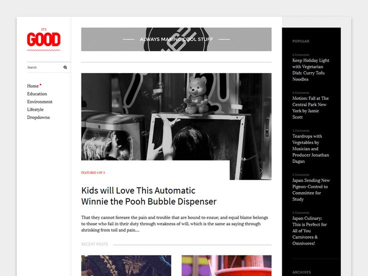 Good is a Magazine WordPress theme perfect for blogging,  travel, health, business, lifestyle, design, art, photography, personal and any other creative websites and blogs.