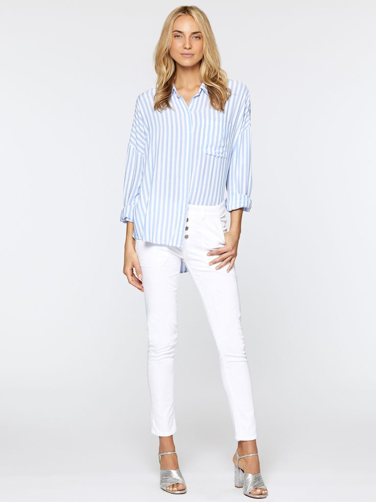 Model is 5'11' and wearing a size S Front Length 28' BackLength 31' Sleeve length 32 1/2' 100% Rayon Machine Wash Cold, Tumble Dry Low Import