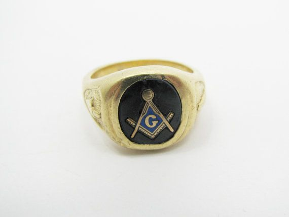 Gold Blue Freemason Ring by AlmightySale on Etsy