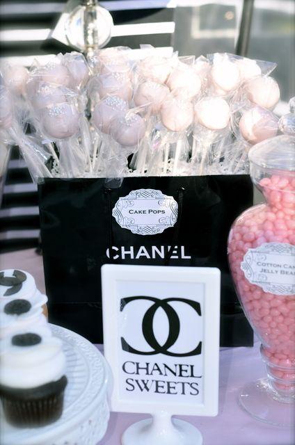 "shopping bag treat display-Photo 1 of 13: Coco Chanel/Parisian / Birthday ""35th Birthday Celebration"" | Catch My Party-"