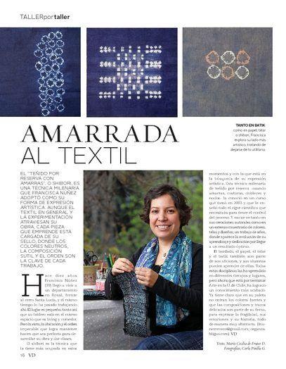 Artículo sobre mi taller en revista VD de El Mercurio.