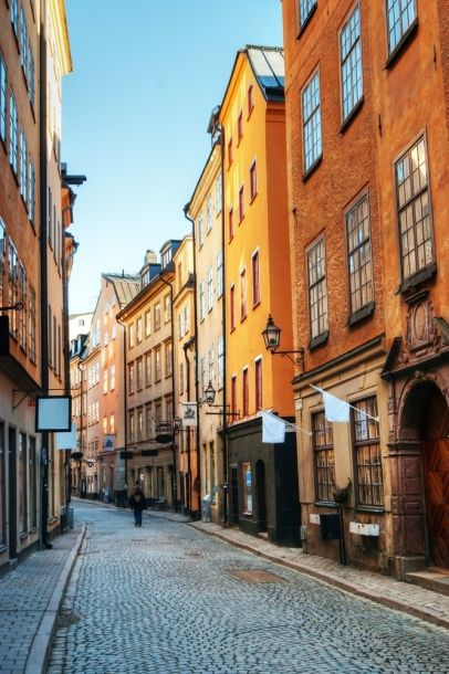 Along the streets of Gamla Stan in Stockholm, Sweden.