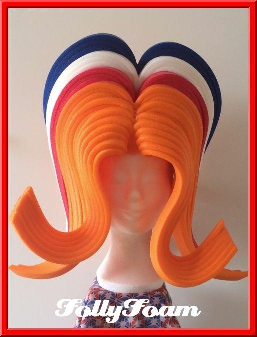 Foam wig - foam pruik made of orange foam from FollyFoam