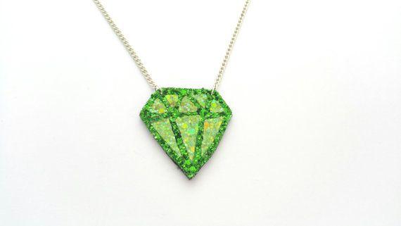 Emerald Gem Glitter Necklace - FREE UK SHIPPING
