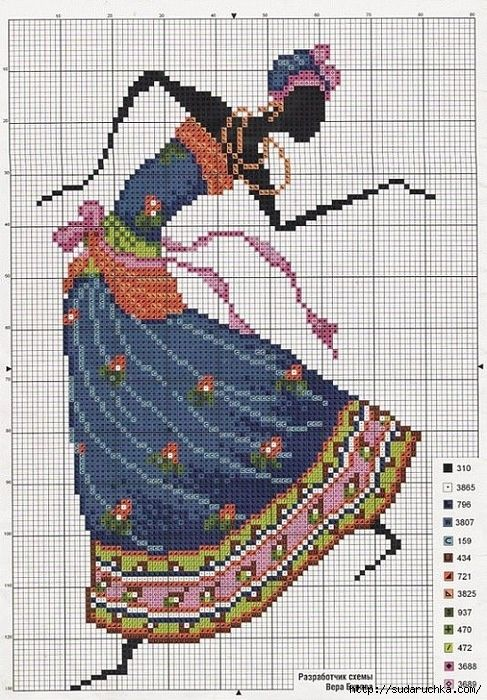 point de croix femme africaine dansant - cross stitch african woman dancing