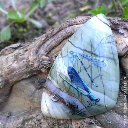 Роспись по камню ручной работы. Ярмарка Мастеров - ручная работа Стрекозы на яшме. Handmade.