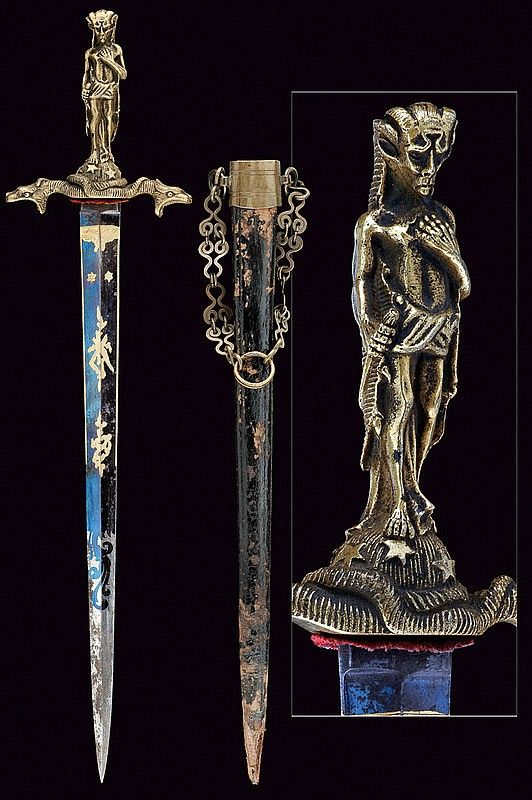 "A rare ritual dagger,mid 19th Century from Europe.Fine, straight, double-edged blade ribbed at the centre, engraved and gilt on a blue ground with effigy of trophies and floral motifs, marked ""P. Marzveldt & Zion"" and ""de S. Hage"" at the base.  dimensions: length 40.2 cm."