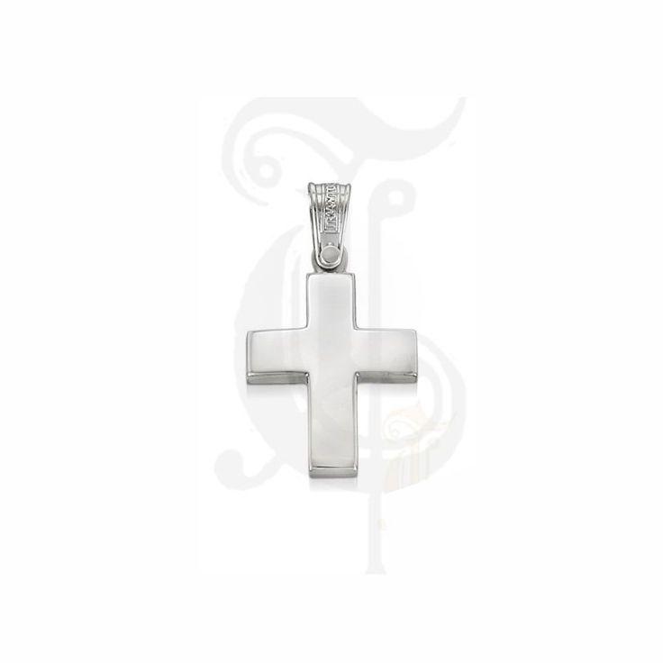 Κλασικός βαπτιστικός σταυρός ΤΡΙΑΝΤΟΣ για αγόρι από λευκόχρυσο Κ14 σε απλή γραμμή | Βαπτιστικοί σταυροί ΤΣΑΛΔΑΡΗΣ στο Χαλάνδρι #κλασικός #βαπτιστικός #σταυρός #βάπτισης #αγόρια