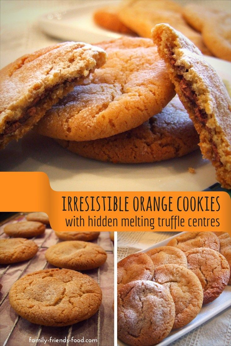 Crisp, buttery orange cookies with a gooey melting truffle filling hiding inside. Easy to make, and so delicious! Everyone will want another cookie... #cookies #chocolate #baking #festive