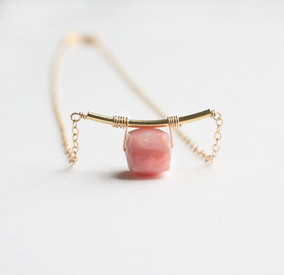Pink Opal Necklace Gemstone Jewelry by laurastark on Etsy