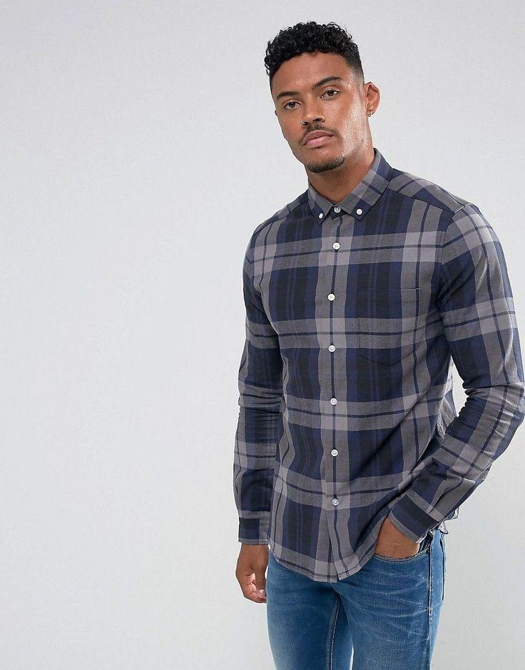 ASOS Stretch Slim Check Shirt - Gray