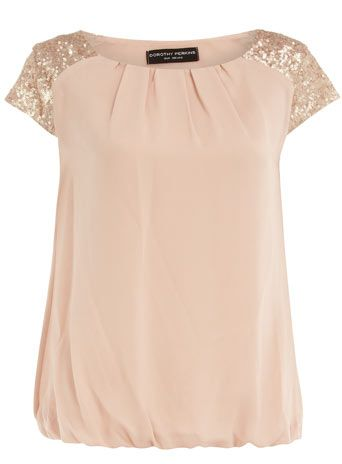 Blush sequin shoulder tee