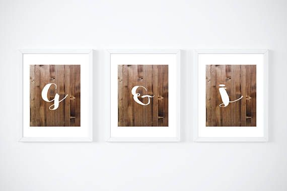 Initial letters in white on wood effect home decor Set of 3 Prints, bedroom, bedroom wall decor, bedroom wall art, home decor
